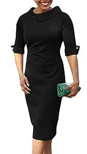 BETTE BOUTIK Women's Retro Bodycon Knee Length Formal Office Dress Pencil Dress with Back Zipper