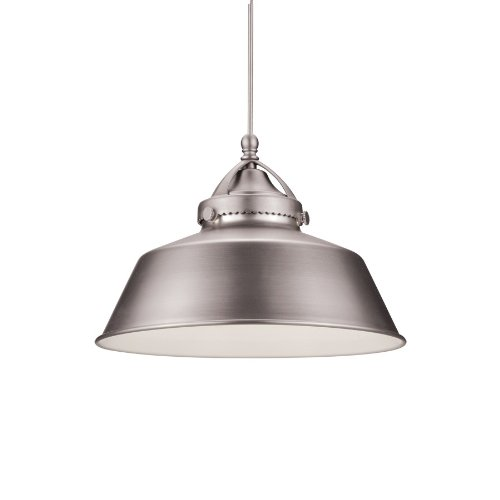 Led Classic Monopoint Pendant (WAC Lighting MP-LED483-BN/DB Wyandotte Early Electric Collection 1-Light LED MonoPoint Pendant with Brushed Nickel Metal Shade and Dark Bronze Finish)