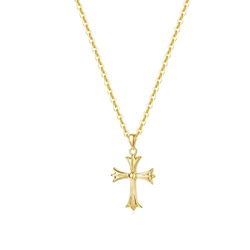 Carleen Solid 14K Yellow Gold Small/Tiny/Little Crucifix Delicate Necklace Dainty Pendant Fine Jewelry for Women Girls, 18
