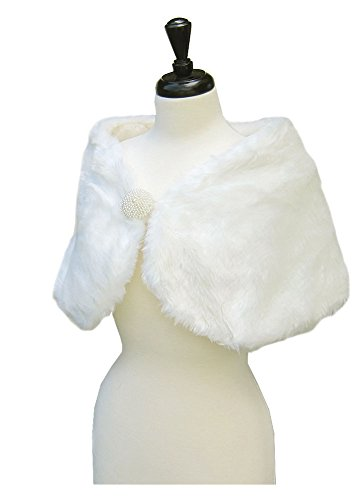 SACASUSA(TM) Small S Bridal Faux Fur Shawl with Beading Embellishment in Ivory