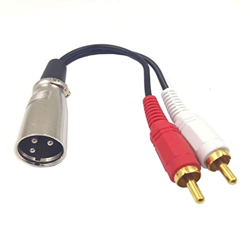 XLR to 2 x Phono RCA Plug Adapter Y Splitter Patch Cable, Haokiang 1 XLR 3 Pin Male to Dual RCA Male Plug Stereo Audio Cable Connector Adapter