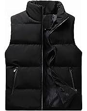 Mens Fall Winter Down Vest Light-midweight Sleeveless Puffer Coats Jackets Stylish Warm Zipper Stand-Up Collar Outerwar