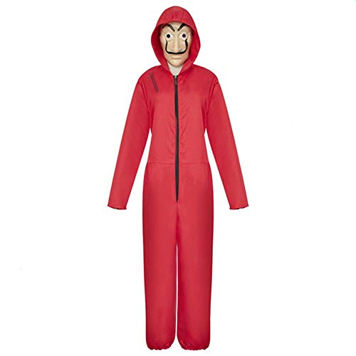 Paper Halloween Costumes (Unisex Dali Mask Red Costume for Dali Money Heist The Paper House La Casa De Papel Costume Hoodie Jumpsuit with Mask (red,)