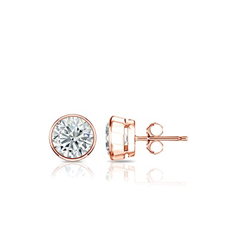 Diamond Wish 14k Rose Gold Bezel-set Round Diamond Stud Earrings (1/2cttw, Good, I1-I2) Push-backs ()