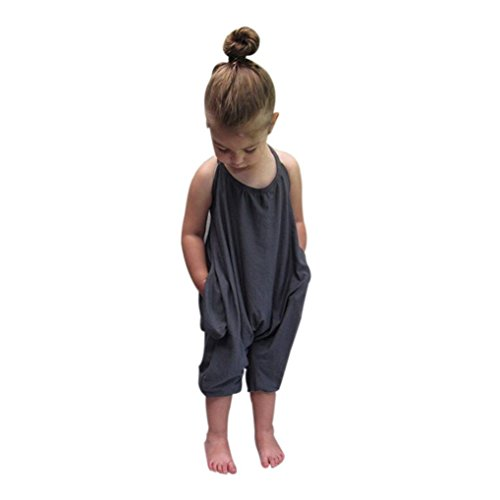 Franterd Baby Girls Straps Rompers, Kid Jumpsuits Piece Pants Clothing (Gray, 0-12M) ()