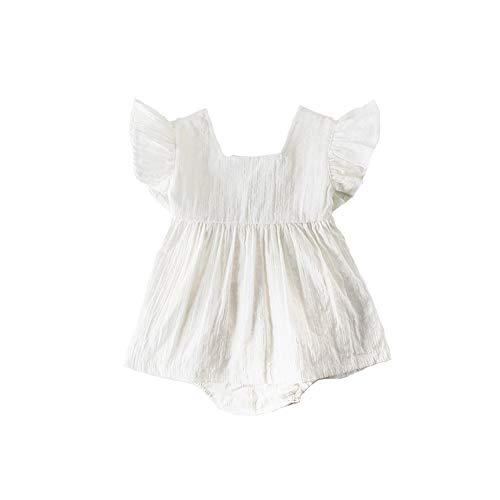 792a2e8740a3a ZooArts ベビー服 ロンパース 女の子 春夏 新生児服 袖なし 無地 飛び袖 ホワイト カバーオール ボディー