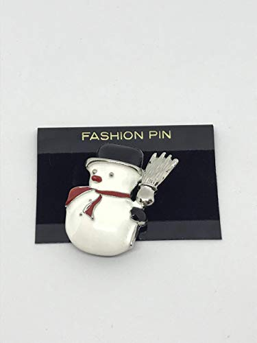 - christmas snowman with broom enamelled pin brooch