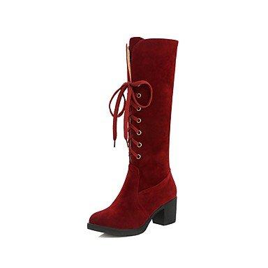 RTRY Zapatos De Mujer Cuero De Nubuck Primavera Otoño Lanilla Forro Botas Confort Chunky Talón Puntera Redonda Rodilla Botas Altas Lace-Up Para Ocasionales De Vino Verde US5 / EU35 / UK3 / CN34