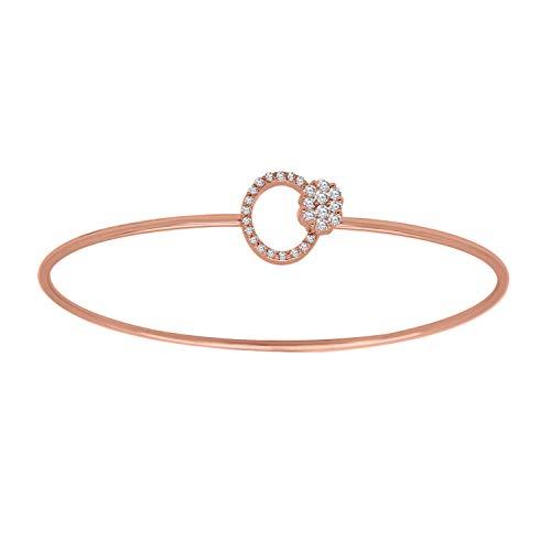 IGI-Certified 0.27 Ct Round Cut Natural Diamond 18K Solid Gold Open Circle Bangle Bracelet (rose-gold)
