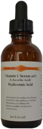 Vitamin C Skin Serum 20% (L-Ascorbic Acid) with Pure Hyaluronic Acid Anti Aging Serum (2oz)