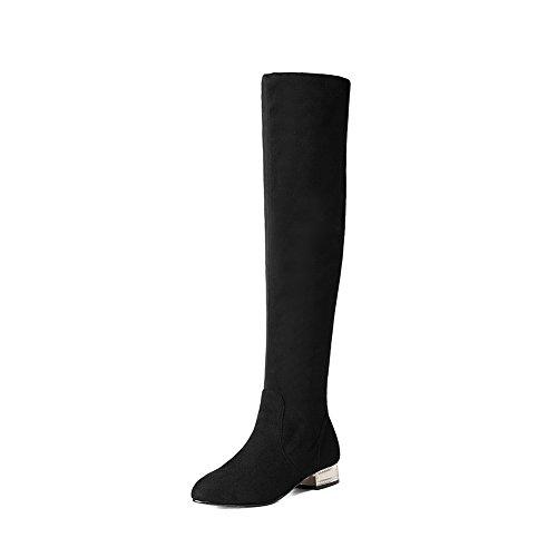 AgooLar Damen Hoch-Spitze Ziehen auf Mittler Absatz Rund Zehe Stiefel mit Metallisch, Schwarz, 36