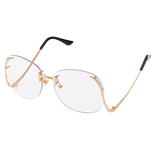 COASION Vintage Oversized Rimless Round Sunglasses for Women Clear Lens Glasses (Clear, - Sun Galss