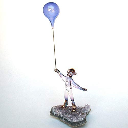 Blown Crystal Glass Amethyst - Clown and Balloons Figurine of Hand Blown Glass on Amethyst Crystals