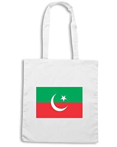 TEHREEK INSAF Shirt FLAG Bianca Speed PAKISTAN Borsa Shopper E TM0219 TwWwqz7n
