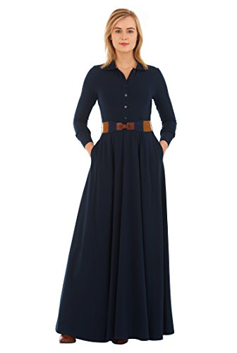 on Knit Elastic Belted Maxi Dress M-10 Regular Symphony Blue (Belted Knit Dress)