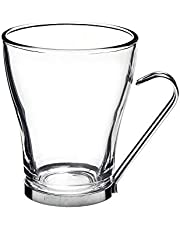 Bormioli Rocco Oslo Cappuccino Cup with Stainless Steel Handle, Clear, Set of 4, Gift Boxed (442100G66021859)