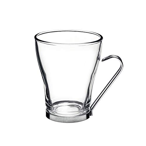 Dishwasher Cups Safe Espresso - Bormioli Rocco Oslo Cappuccino Glass Cups 4 Set 7.5 Oz | Tempered Glass, Ergonomic Stainless Steel Handles, Dishwasher Safe | For Coffee Drinks, Beverages, Latte, Macchiato, Espresso, Mocha & More