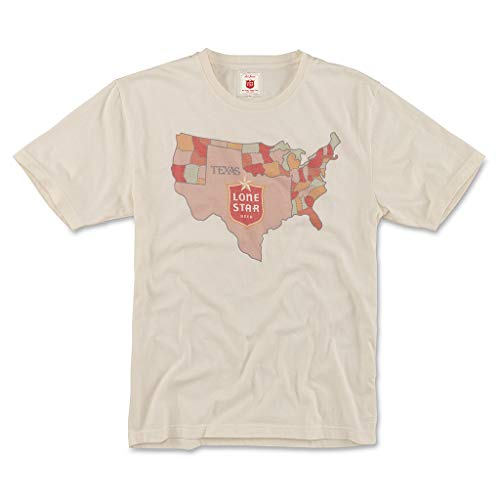 Red Jacket Mens Vintage Fade Lone Star Beer Crew Neck T Shirt, X-Large, Cream (RJ902-PBC-CRM-XL) ()