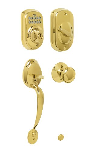 Image of Schlage FE365 V PLY 505 PLY Plymouth Keypad Deadbolt with Plymouth Outer Grip and Plymouth Knob Interior, Bright Brass