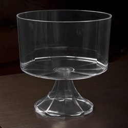 Footed Candy Dish Bowl (Clear Plastic Elegant Pedestal Trifle Bowl 120 Oz)