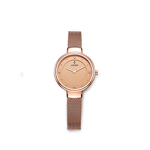 (Watch Simple Fashion Casual Women's, Waterproof Quartz Chronograph Wrist Watches, Diamond Accented Markers Wrist for Women (Color : Gold))