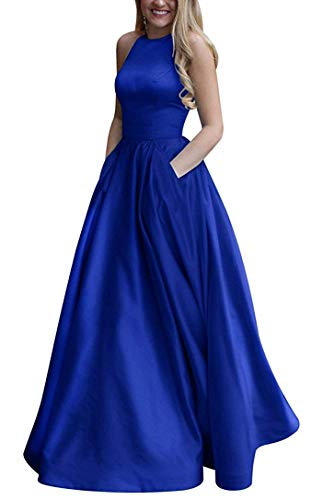 Gricharim Women's Long Halter Satin Prom Dresses Long A Line Open Back Evening Gowns with Pockets Royal Blue US12 (Gown Back Open Prom)