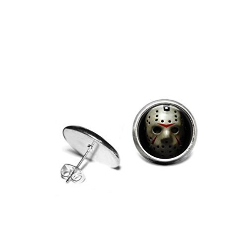 [Friday The 13th Earrings Jason Vorhees Hockey Mask 1/2 inch 12mm Stainless Steel Stud Earrings] (Jason Vorhees Masks)