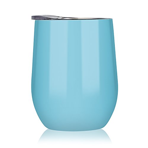 DOKIO 12 oz Seafoam Wine Cup Stemless Stainless Steel Double Wall Vacuum Insulated With Crystal Clear Lid Great For Ice And Hot Drink Mug Coffee Champagne Cocktails For Home Office ()