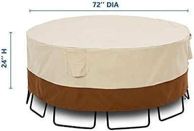 KIOKOI Outdoor Furniture Cover, Premium Heavy Duty Weatherproof, with 600D Oxford Fabric PVC Coated, Patio Furniture Covers, Size 72 Dia x 24 H