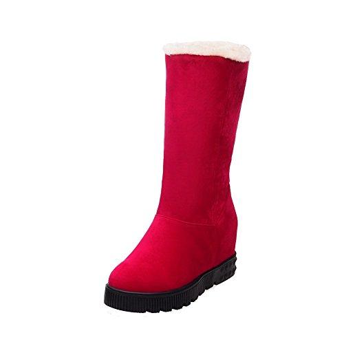 AllhqFashion Mujeres Cuña Plataforma Sin cordones Puntera Redonda Cerrada Botas Rojo