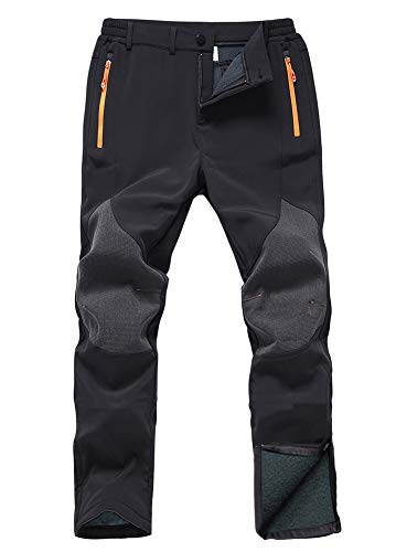 Gash Hao Mens Snow Ski Waterproof Softshell Snowboard Pants Outdoor Hiking Fleece Lined Zipper Bottom Leg (Black, 30x28)