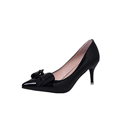 Yukun zapatos de tacón alto Talón Alto De Las Señoras De La Primavera De Las Mujeres De Tacón Alto De Tacón Alto De Aguja Puntiagudos Zapatos Casuales Boca Poco Femenina Black