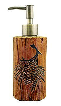 (Faux Wood Log Pine Cone Liquid Soap Lotion Pump Dispenser, 7.5-inch)