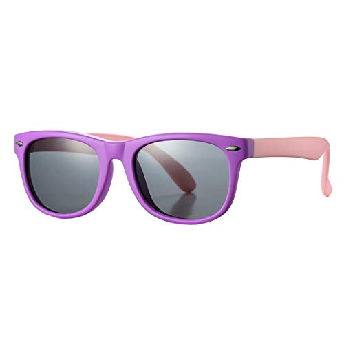 (Kids Polarized Sunglasses TPEE Rubber Flexible Shades for Girls Boys Age 3-10 (Purple Frame/Grey Lens))