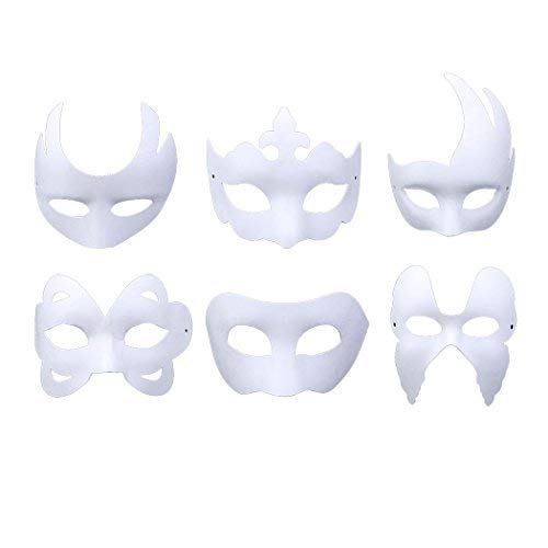 DIY Mask,Outgeek 6 Pcs Paintable Paper Mask Plain White Mask for Mardi Gras ()