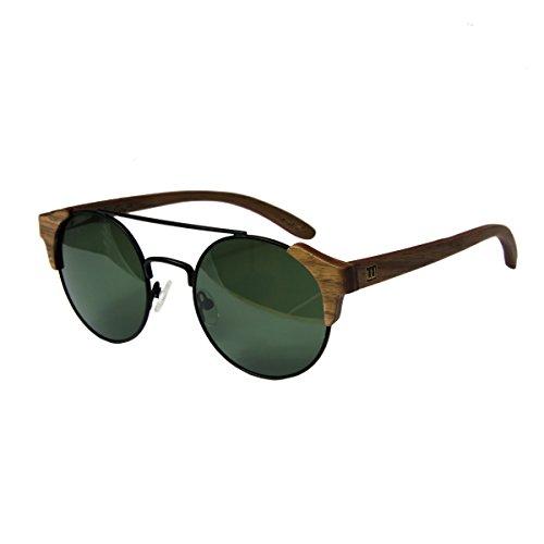 de UV400 madera de madera mujer sol polarisado WOLA Nogal estilo gafas FEU y redonda en hombre sunglasses 57wng6q0