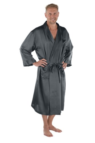 Men's 100% Silk Robe - Luxury Bathrobe for Him by Texeresilk (Turin, Zinc, Large/X-Large) Great Fathers Day Gifts MS0103-ZNC-LXL (Great Father's Day Gift)