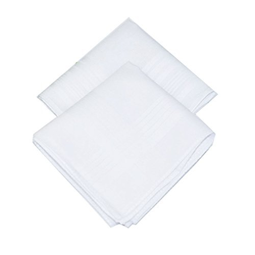 La Closure Mens Solid White 100 percentage Cotton Handkerchiefs Pack Bulk White 12 PCS by LACS Handkerchiefs