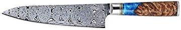 Cuchillos de chef Damasco del cuchillo del cocinero de 8 pulgadas cuchillo de cocina de Damasco solidificadas de madera de alta definición VG10 japoneses de acero cuchillos for uso utensilios de cocin