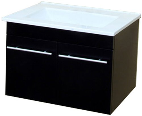 Bellaterra Home 203172-S 24.4-Inch Single Wall Mount Style Sink Vanity Black Wood