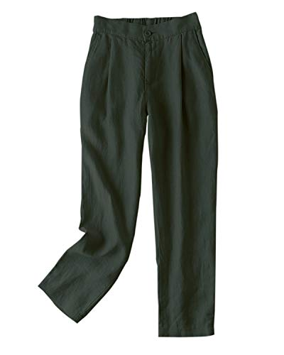 Wide Leg Pleated Trousers - IXIMO Women's Tapered Pants 100% Linen Front Pleated with Button Closure Elastic Waist Trousers Army Green XXL