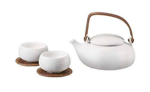 ZENS White Matte Finish Tea Set Smooth texture Ceramic Teapo