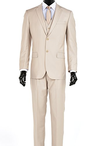 Elegant Men's Modern Fit Three Piece Two Button Suit - Many Colors (36 Short, Light Tan) ()