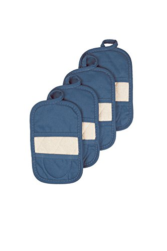 Gourmet Collection Pot Hooks - Ritz Royale Collection 100% Cotton Terry Cloth Mitz, Dual-Function Pot Holder/Oven Mitt Set, 4-Pack, Federal Blue