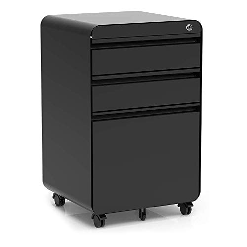 3-Drawer Filling Cabinet, Metal Vertical File Cabinet with Hanging File Frame for Legal & Letter File Install-Free Anti-tilt Design and Lockable System Office Rolling File Cabinet | Black (Vertical File 3 Drawer)