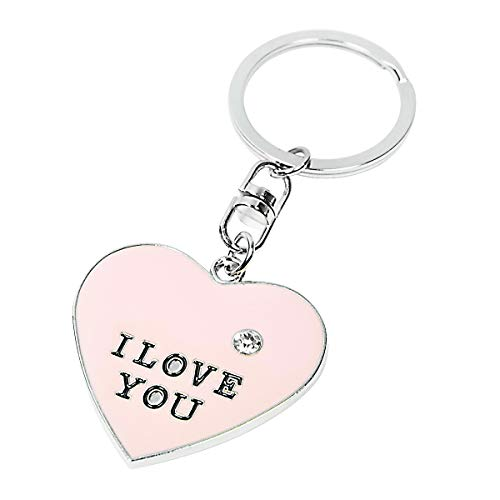 Lucky Keychains I Love You Key Ring Heart Shape Keychain (Pink)