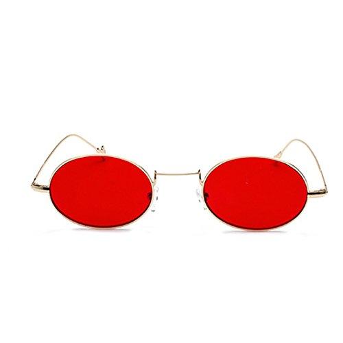 Rojo Dorado Inlefen de Glasses Gafas Small Eyeglass Sun Frames Metal Fashion Oval Redondo sol Women Eyewear 6Tf6Z