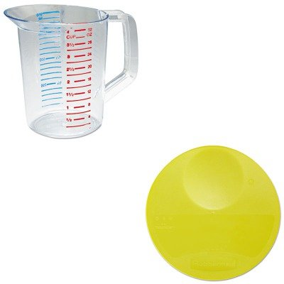 KITRCP3216CLERCP5725YEL - Value Kit - Rubbermaid-Yellow Round Storage Container Lid (RCP5725YEL) and Rubbermaid-Clear Bouncer Measuring Cups 1 Quart ()