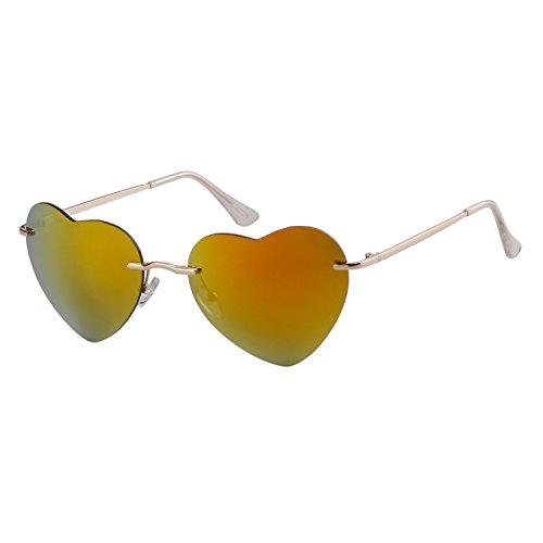 plage Gold de coeur de Femmes Sunglass en ADEWU fille sans forme monture lunettes zwazAq