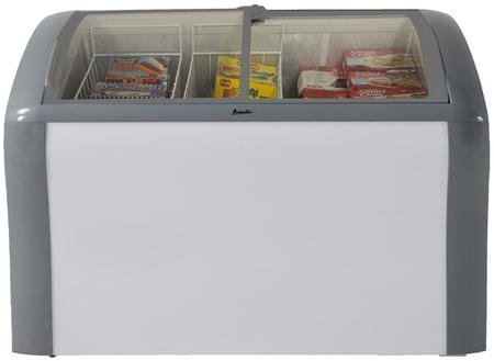 Avanti CFC83Q0WG 41″ Commercial Convertible Freezer/Refrigerator with 9.3 cu. ft. Capacity, Glass Top Display, 2 Removable Storage Baskets, Adjustable Thermostat, Lock, and Rollers: White